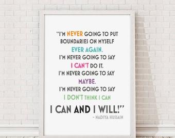 I Can & I Will Nadiya Hussain Great British Bake Off 2015 Winner Quote A4 Print