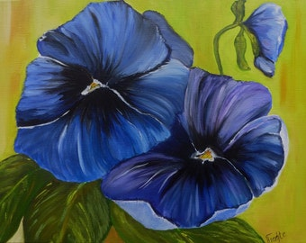 Oil painting blue Pansy