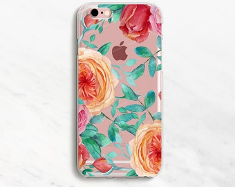 Clear Floral iPhone 7 Plus Case iPhone 6 Case Flower iPhone 7 Case iPhone 6 Plus Case 5s 5