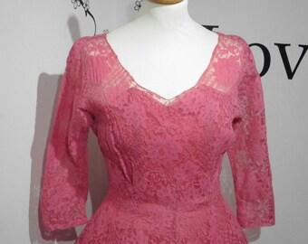 Fantastic 1940's/50's Bright Pink Wedding Dress