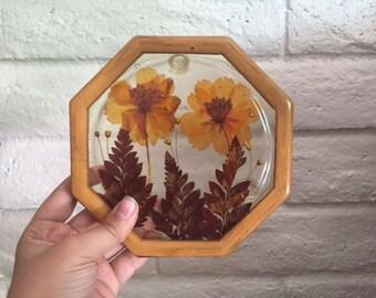 Dried Flower Resin Trivet