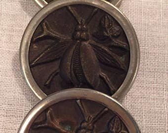 Art Noveau Insect Buttons. Three buttons from the late 1800's to early 1900's.