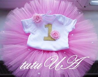 First Birthday Outfit, Baby Girls First Birthday Outfit, 1st Birthday Outfit, Baby Girl Birthday Tutu Outfit, Pink 1st First Birthday, Baby