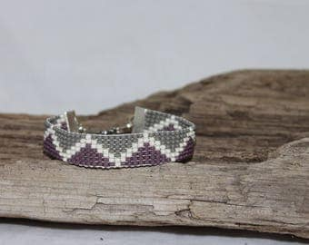 Woven bracelet, cuff of fine pearls of rockery 10/0, bohemian style