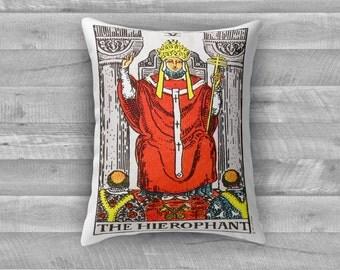 "Tarot Card Throw Pillow- Major Arcana V ""The Hierophant"""