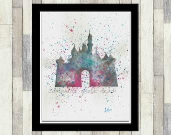 Disney Castle Original Watercolour Painting, Disney Princess Themed Room Decor, Wall Art, Poster, Girl's Gift