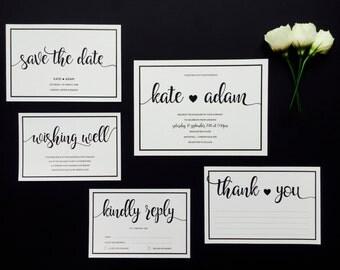 Elegant Black and White Wedding Invitation and RSVP - Modern Calligraphy Wedding Invitation - Romantic Hearts Wedding Invitation