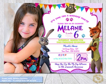 Zootopia Birthday Invitation.Zootopia Photo Invitation.Zootopai Party Theme.Party Invitations.Zootopia Invitations.Zootopia.Birthday Invite.
