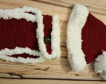 Crocheted Santa Hat and Diaper Cover