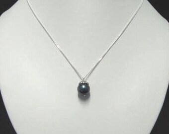 Large black shell pearl pendant