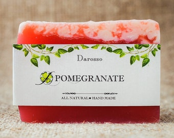Pomegranate Soap, Soap, Vegan Soap, Natural Soap Bar, Homemade Soap, Handmade Soap, gift for her, gift for girlfriend, gift for women