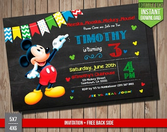 DISNEY MICKEY Invitation - Mickey Mouse Invite, Editable Text PDF Birthday Party Disney Invitation, Instant Download