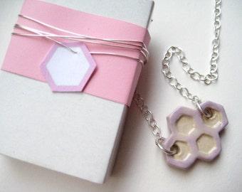 Chain ceramic Silver 925 cream / pink honeycomb 7
