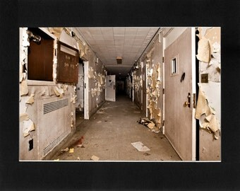 "Custom Matted Print 0305. Abandoned: Marlboro State Mental Hospital, NJ. ""Empty Hallway"" - Collectable Photographic Artwork. (11"" x 14"")"