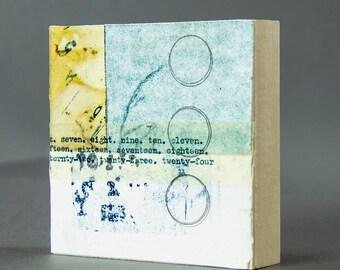 NUMBERED FLIGHT  collage, printmaking, ephemera, collage art, mixed media, art, original art, free domestic shipping