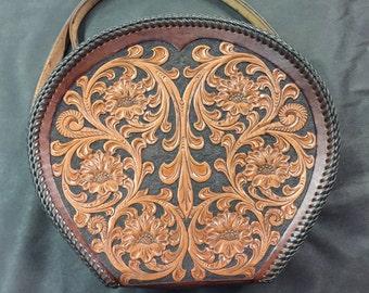 Vintage Style Tooled Leather Handbag