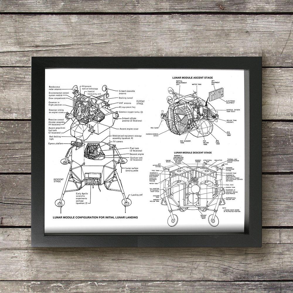 Spaceship Engine Diagram Electrical Wiring Diagrams Apollo Lunar Lander Module Schematic Wall Art Print Vintage Nasa Star Trek Voyager Ship