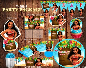 Moana Party Package, PERSONALIZED,  Water Bottle Labels, Cupcake Toppers, Treat Bag Topper,  Moana Party  Pack