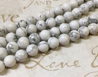 AA quality, Magnesite Beads, White Beads, Round, 8mm, Full strand,