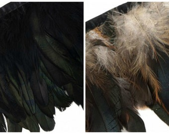 Bulk Iridescent Rooster Coque Feather Fringe - Natural 1/2 Bronze or Dyed Black  - FCQ6 5 yards