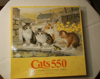 Jigsaw Puzzle - Cats 550 Fully Interlocking Piece Puzzle, Leap Frog Fun, MB 1991