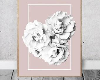 Rose Print - Chic Wall Art, Beige Decor, Instant Download, Black, White, Modern Flowers, Rectangle Design, Simplistic Artwork, Digital Art