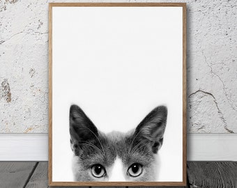 Animal Wall Art, Peekaboo Print, Digital Print , Cat Face Photo, Black And White Cat, Cat Eyes Print, Cat lover gift, Nursery Decor, Boho