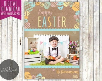 Rustic Easter Eggs Photo Easter Card - Printable DIY