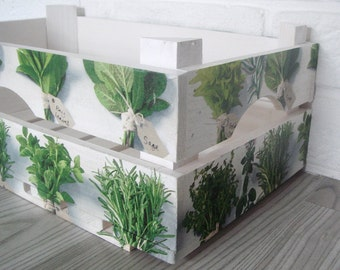 WOODEN CRATE HERBS, handmade wooden crate, wooden storage boxes, gift ideas, home decorations, decoupage crate, personalized crate