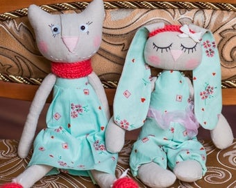 Soft toy ( cat and bunny)