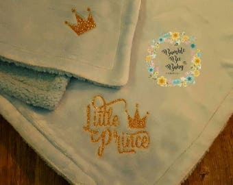 Little Prince Logo'd Baby Boy Blanket, Logo'd On 2 Ends....Perfect Coming Home Blanket or Shower Gift (See Matching Baby Gown)