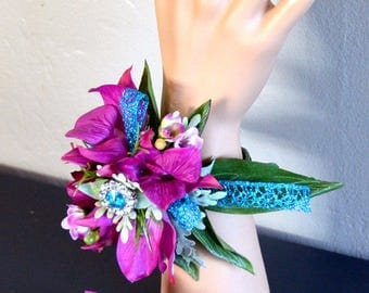 Prom wrist corsage and boutonniere set; magenta;teal;bling;orchid;brooch;rhinestone;cuff;adjustable;wax flower;bright