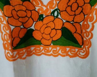 Mexican  Embroidered  Blouse Orange Flowers