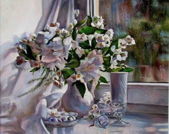 "Oil painting on canvas, Still life ""Morning joy"", Still Life Drawing, Gift, Art, Flowers, Nature"