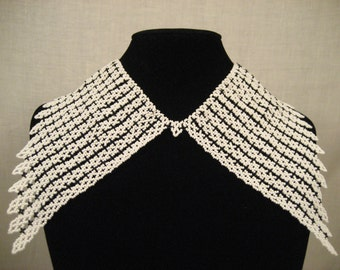 White & black beaded collar necklace