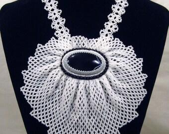 Beaded jabot necklace