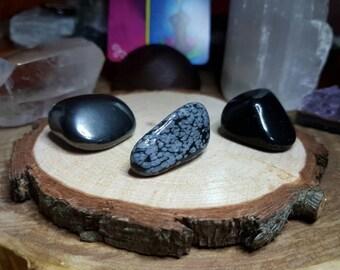 SET OF 3: Heamatite, Snowflake Obsidian and Black Obsidian Tumble Stones
