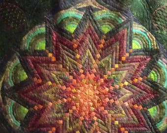 Art quilt jewel tones and pineapples