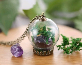 Minimalist Crystal Terrarium Necklace