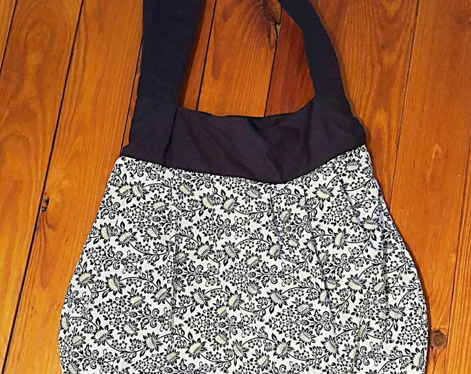 Black Gold and White Floral Large Purse - Hobo Bag- Large Tote - Gift for Her - Slouch Bag - Over the shoulder - Diaper bag -Pleated Purse