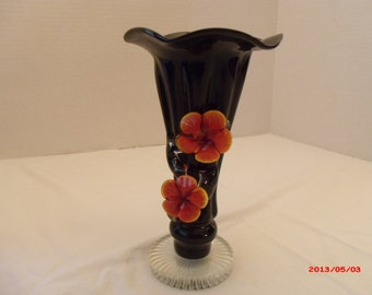 Black/Orange vintage flower art galss vase