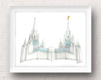 San Diego California LDS Temple Painting - Archival Art Print