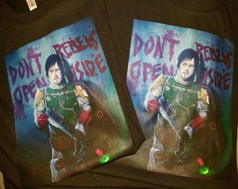 Black Star Wars Walking Dead Daryl Dixon Bobba Fett T-Shirt