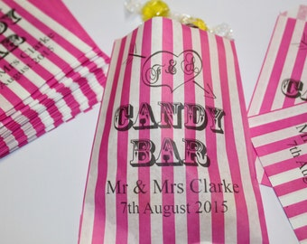 Personalised Candy Bar Wedding Sweet Bags - Buffet Sweet Cart Pink Striped