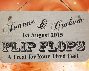 PERSONALISED Wedding FLIP FLOP Wooden Sign - Shabby Chic - Rustic White/Natural