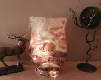 Sunset Hurricane Strawsilk Glass Vase or Candle Holder