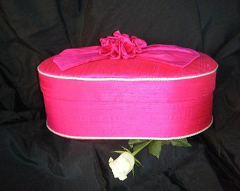 Hatbox - Large size Oval fabric covered Box from Pandora's Boxes covered in Magenta Pure Dupion Silk fabric
