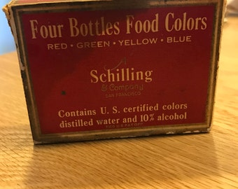 Schilling & Company SF food coloring bottles in box