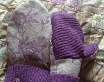 PanCan Fundraiser sweater mittens, floral pattern