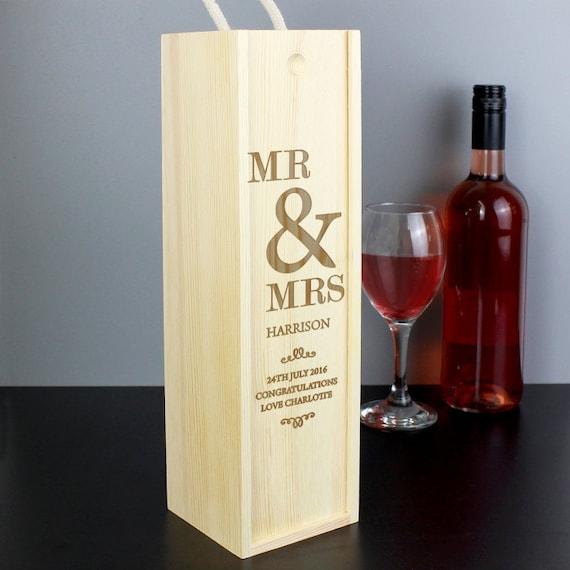 Personalised Wedding Gift Oak Bottle Box : Personalised Couples Bottle Presentation BoxWedding / Anniversary ...